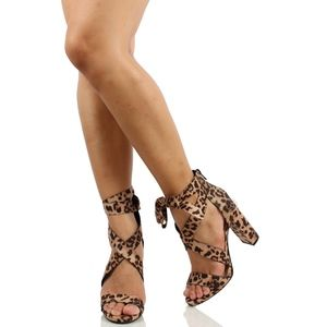 Shoes - Tan Leopard Open Toe Strappy Lace Up Sandal